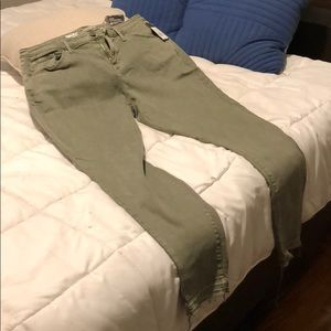 Olive green stretchy jeans